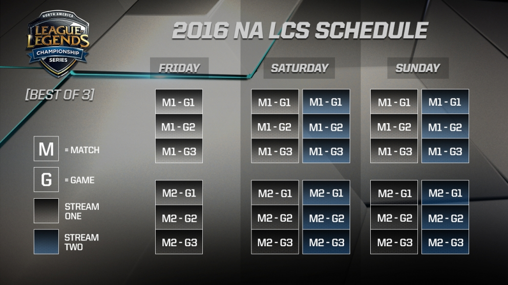2016 na lcs schedule