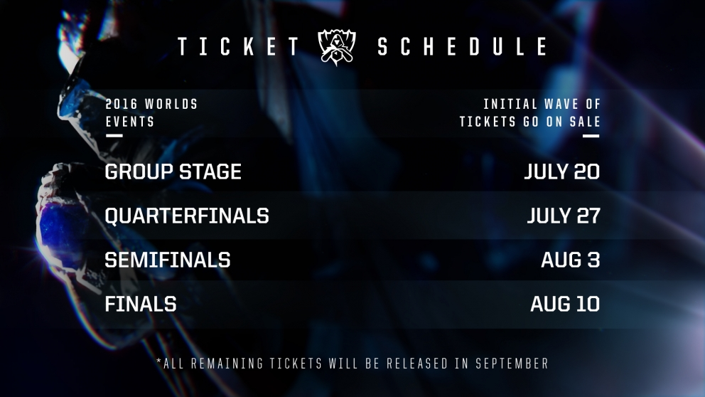 TL;DR: Worlds 2016 ticket sales begin on Wednesday, July 20 with the ...