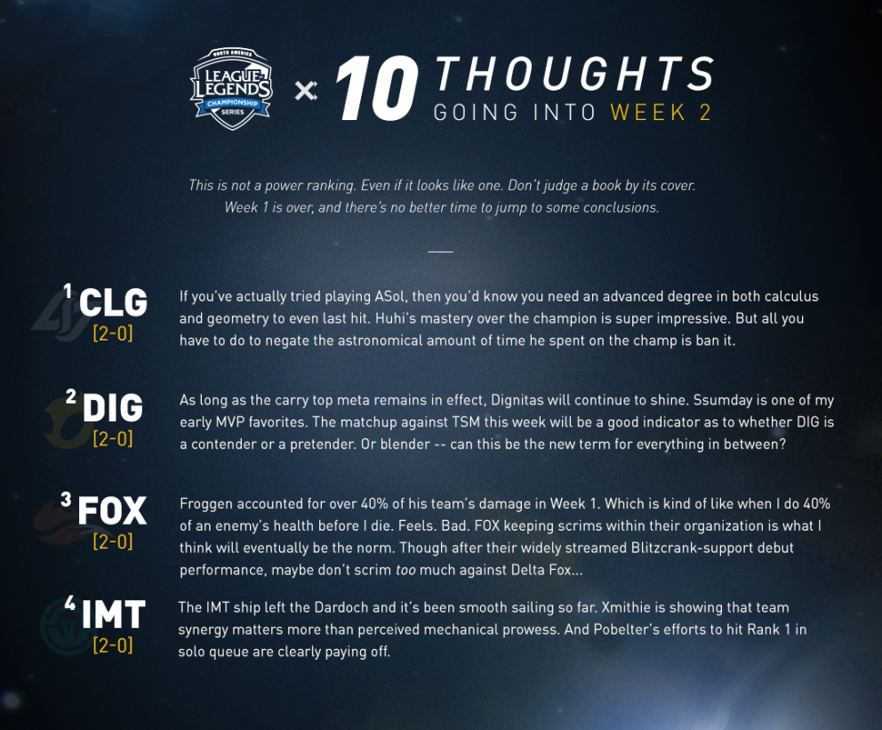 10 thoughts going into Week 2 | LoL Esports